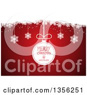 Clipart Of A Retro Merry Christmas And Happy New Year Bauble And Suspended Snowflakes Over Red Royalty Free Vector Illustration by KJ Pargeter