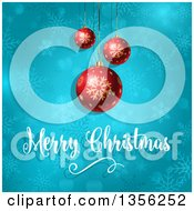 Clipart Of A Merry Christmas Greeting Under 3d Red Suspended Baubles On Blue Snowflakes And Flares Royalty Free Vector Illustration