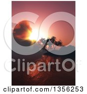 Clipart Of A 3d Landscape Of Trees On Hills Over A Lake At Sunset Royalty Free Illustration