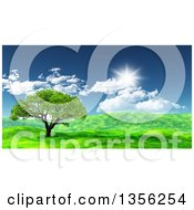 Clipart Of A 3d Tree In A Hilly Green Spring Landscape On A Sunny Day Royalty Free Illustration by KJ Pargeter