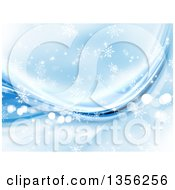 Clipart Of A Blue Snowflake Winter Or Christmas Background With Flares And Waves Royalty Free Illustration