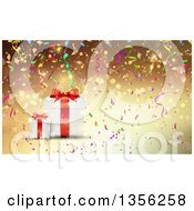 Clipart Of A Background Of 3d Christmas Gifts With Colorful Confetti Over Gold Royalty Free Vector Illustration by KJ Pargeter
