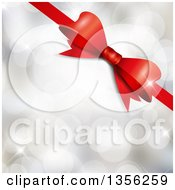 Clipart Of A 3d Shiny Red Gift Ribbon Over Silver Flares Royalty Free Vector Illustration