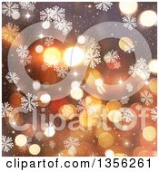 Clipart Of A Snowflake Winter Or Christmas Background With Flares Royalty Free Illustration