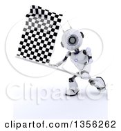 Clipart Of A 3d Robot Swinging A Checkered Racing Flag Royalty Free Illustration