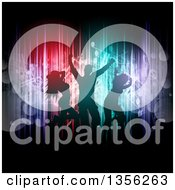 Clipart Of Silhouetted People Dancing Over Colorful Vertical Lights And Flares With Music Notes On Black Royalty Free Vector Illustration