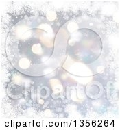 Clipart Of A Silver Snowflake Winter Or Christmas Background With Flares And Stars Royalty Free Illustration