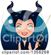 Clipart Of A Maleficent Witch Holding A Wand Over A Castle Full Moon And Bats Royalty Free Vector Illustration