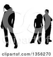 Clipart Of A Black Silhouetted Woman Standing Away From A Couple Royalty Free Vector Illustration by KJ Pargeter