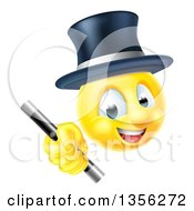 Clipart Of A 3d Yellow Male Smiley Emoji Emoticon Magician Holding A Wand Royalty Free Vector Illustration by AtStockIllustration