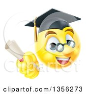 3d Yellow Male Smiley Emoji Emoticon Graduate Holding A Diploma
