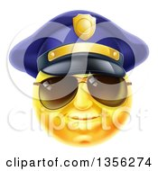 Clipart Of A 3d Yellow Male Smiley Emoji Emoticon Face Police Officer Wearing Sunglasses Royalty Free Vector Illustration by AtStockIllustration