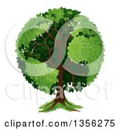 Clipart Of A Mature Tree With Planet Earth Shaped Continents Royalty Free Vector Illustration