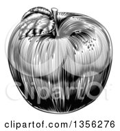 Clipart Of A Black And White Vintage Woodcut Apple Royalty Free Vector Illustration by AtStockIllustration