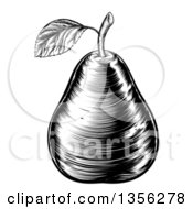 Clipart Of A Black And White Vintage Woodcut Pear Royalty Free Vector Illustration