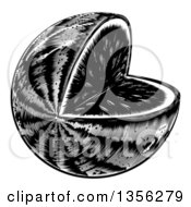 Black And White Vintage Woodcut Watermelon With A Missing Wedge