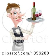 Cartoon Caucasian Male Waiter With A Curling Mustache Holding Red Wine On A Tray And Pointing