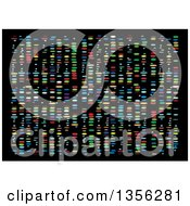 Clipart Of A Colorful Background Of Dna Results On Black Royalty Free Vector Illustration