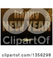 Clipart Of A Happy New Year Greeting With Fireworks Over A Brown Grid Royalty Free Vector Illustration by dero