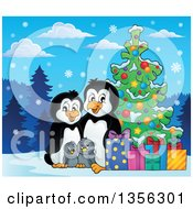 Clipart Of A Cartoon Happy Penguin Family With Gifts By A Christmas Tree In The Snow Royalty Free Vector Illustration