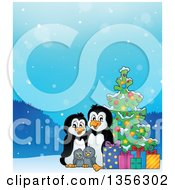 Clipart Of A Cartoon Happy Penguin Family With Gifts By A Christmas Tree Royalty Free Vector Illustration