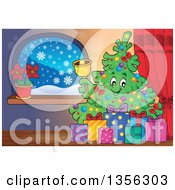 Clipart Of A Christmas Tree Character Ringing A Bell With Gifts Indoors Royalty Free Vector Illustration