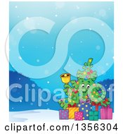 Clipart Of A Christmas Tree Character Ringing A Bell With Gifts In The Snow Royalty Free Vector Illustration