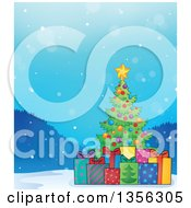 Clipart Of A Christmas Tree With Gifts In The Snow Royalty Free Vector Illustration