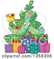 Clipart Of A Christmas Tree Character Ringing A Bell With Gifts Royalty Free Vector Illustration