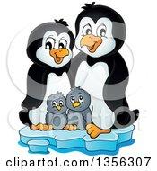 Cartoon Happy Penguin Family On Ice