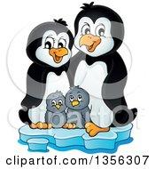 Clipart Of A Cartoon Happy Penguin Family On Ice Royalty Free Vector Illustration