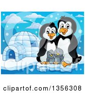 Clipart Of A Cartoon Happy Penguin Family By An Igloo Royalty Free Vector Illustration by visekart