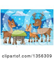 Clipart Of A Cartoon Cute Deer Family By A Feeder In The Snow Royalty Free Vector Illustration by visekart