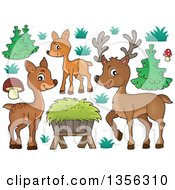Clipart of a Cartoon Cute Deer Family, Hay and Plants - Royalty Free Vector Illustration by visekart