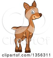 Clipart Of A Cartoon Cute Baby Deer Royalty Free Vector Illustration