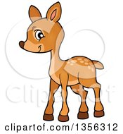 Clipart Of A Cartoon Cute Baby Deer Royalty Free Vector Illustration by visekart