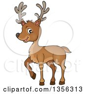 Clipart Of A Cartoon Cute Buck Deer Royalty Free Vector Illustration