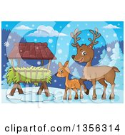 Clipart Of A Cartoon Cute Baby Deer And Doe By A Feeder In The Winter Royalty Free Vector Illustration by visekart