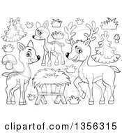 Clipart Of A Cartoon Black And White Cute Deer Family Trees And Plants Royalty Free Vector Illustration by visekart