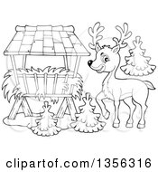 Clipart Of A Cartoon Black And White Cute Buck Deer By A Hay Feeder Royalty Free Vector Illustration by visekart