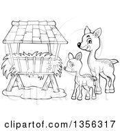 Clipart Of A Cartoon Black And White Cute Baby Deer And Doe At A Feeder Royalty Free Vector Illustration by visekart