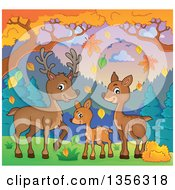 Clipart Of A Cartoon Cute Deer Family In An Autumn Landscape Royalty Free Vector Illustration by visekart