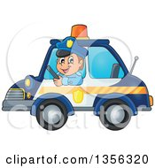 Cartoon White Male Police Officer Driving A Car