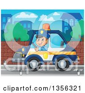 Clipart Of A Cartoon White Male Police Officer Driving A Car In A City Royalty Free Vector Illustration