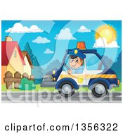 Clipart Of A Cartoon White Male Police Officer Driving A Car Through A Neighborhood Royalty Free Vector Illustration