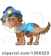 Clipart Of A Cartoon Police Dog Royalty Free Vector Illustration