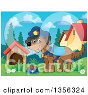 Clipart Of A Cartoon Police Dog In A Yard Royalty Free Vector Illustration by visekart