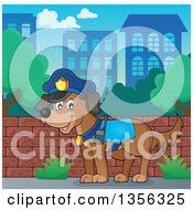 Clipart Of A Cartoon Police Dog In A City Royalty Free Vector Illustration by visekart