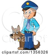 Clipart Of A Cartoon White Male Police Officer With A Dog Royalty Free Vector Illustration