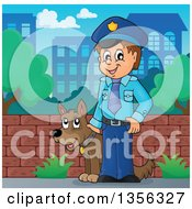 Cartoon White Male Police Officer With A Dog In A City